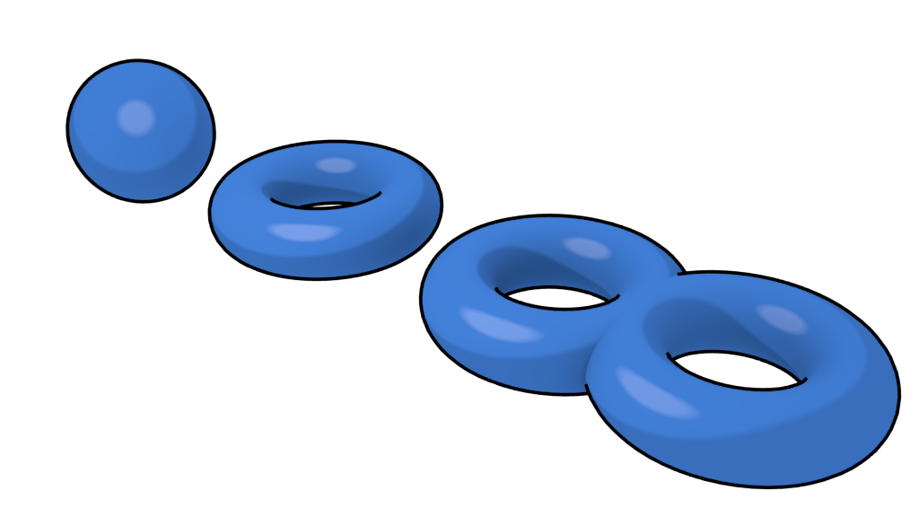 Image of a torus with two holes, a standard torus and a sphere.